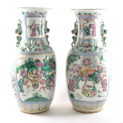 Lot 3 - A pair of large Chinese famille rose vases, 19th Century