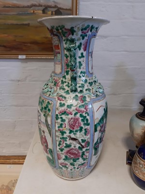 Lot 3-A pair of large Chinese famille rose vases, 19th Century