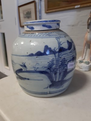 Lot 11-A pair of Oriental blue and white kiln jars, a pair of vases, a single vase