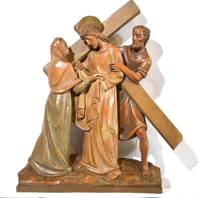 Lot 33 - Set of fourteen carved and limed poplar Station of the Cross
