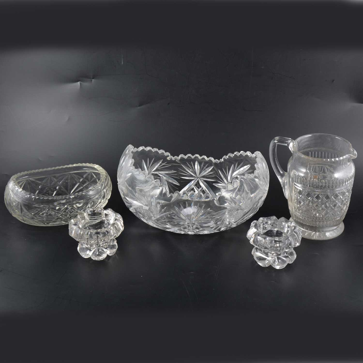 Lot 20-A collection of cut glass, including fruit bowls and a hors d'oeuvres set