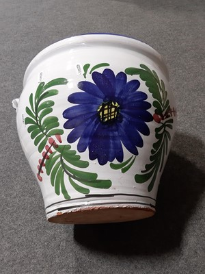 Lot 19-A pair of Sevres inspired oval porcelain plaques, and other earthenware planters