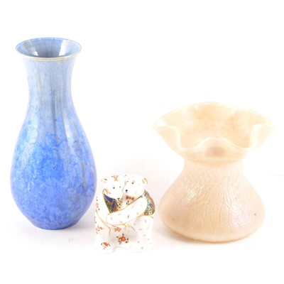 Lot 28-Loetz style iridescent glass vase, a Langworthy pottery vase; and a Royal Crown Derby paperweight
