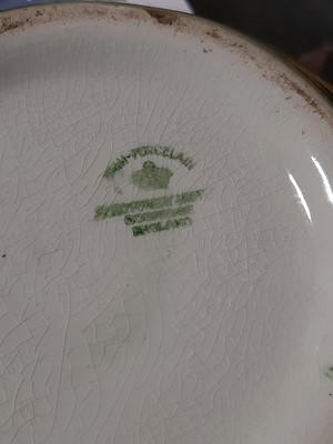 Lot 23 - Staffordshire earthenware green glazed covered vase, Soho Pottery Limited