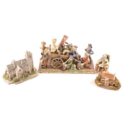 Lot 72 - Will Young Devonshire pottery group, 'Bringing home the old grey mare', and seven similar figures