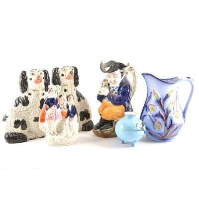 Lot 91 - Pair of Staffordshire dogs, modelled as seated King Charles Spaniels, etc