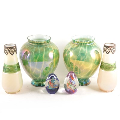 Lot 92 - Pair of iridescent glass vases and other decorative glass