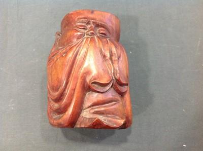 Lot 27 - Chinese carved hardwood brush pot