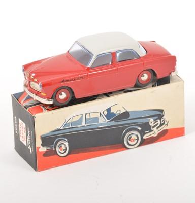 Lot 168 - Tekno Toys Denmark; no.810 Volvo Amazon, two-tone red and grey body, spun hubs, in original box.