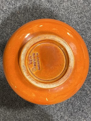Lot 16-A William Moorcroft 'Flammian' ware vase for Liberty & Co, circa 1920, and an orange lustre vase