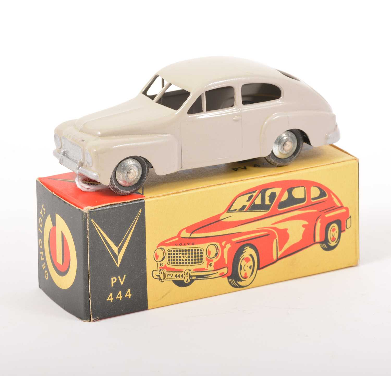 Lot 160-Geno Toys Sweden; Volvo PV 444, pale grey body, spun hubs, in original box.