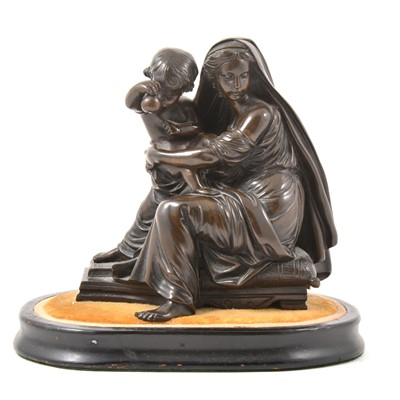 Lot 35-Bronze group, Madonna and child
