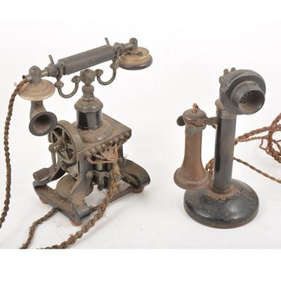 Lot 107 - Four vintage GPO telephones, including an Ericsson 'Skeleton Telephone'.