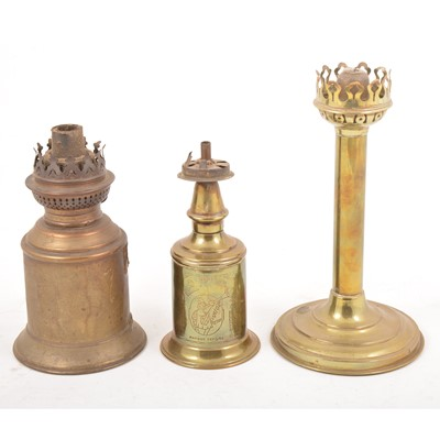 Lot 108 - A quantity of oil lamps, burners, fitments, and scrap electroplated ware.