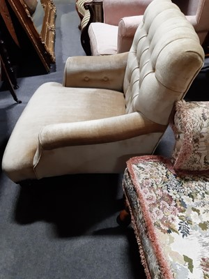 Lot 33 - A Victorian club chair, stamped 'WB'