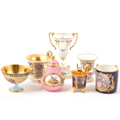 Lot 19-Vienna porcelain vases, cabinet cups, miniature coffee pot.