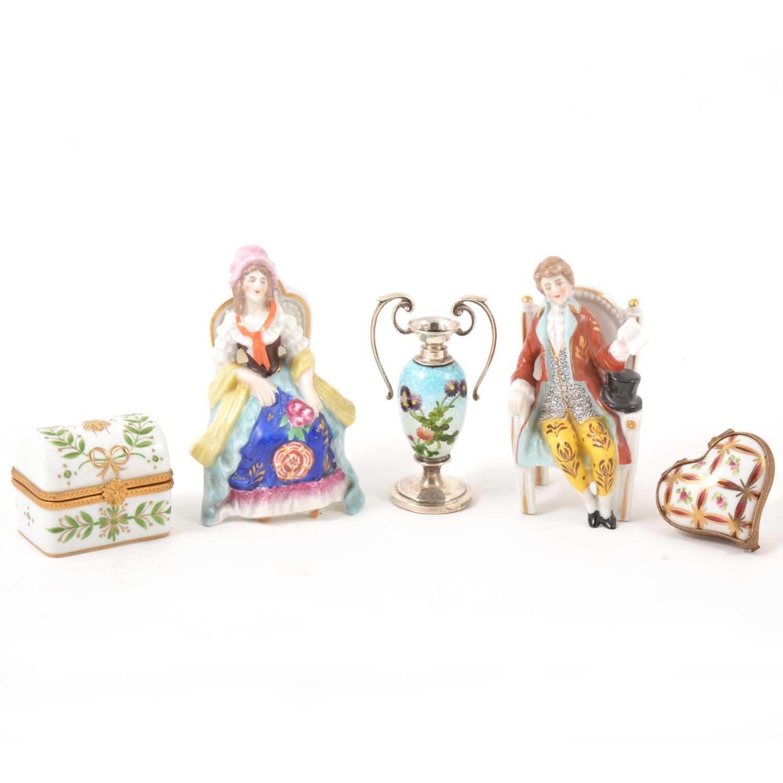 Lot 20-Miniature silver mounted cloisonne vase, etc.