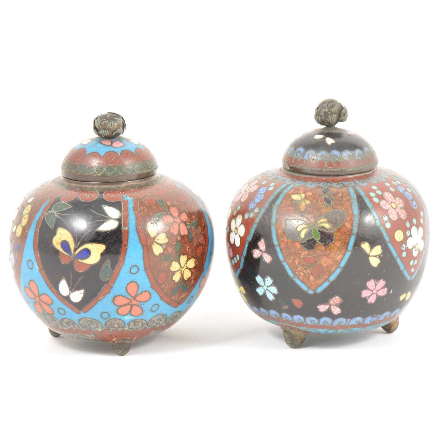 Lot 28-Pair of small Japanese cloisonne vases