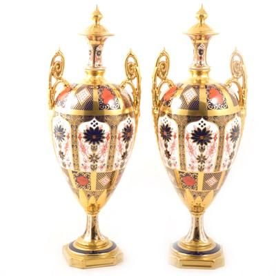 Lot 24 - Pair of Royal Crown Derby urns