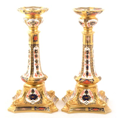 Lot 26 - Pair of Royal Crown Derby candlesticks