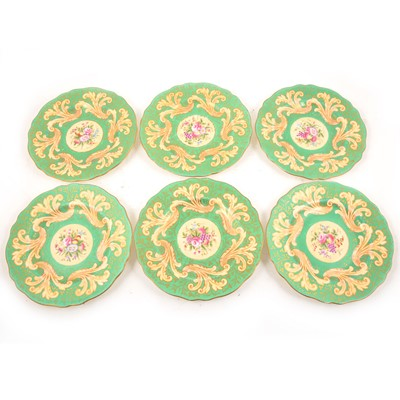 Lot 25 - A set of six Wedgwood wall plates, retailed by Goode & Son