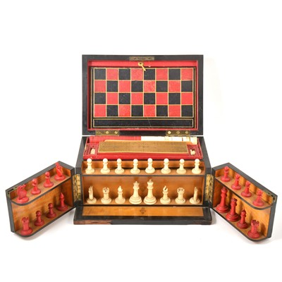 Lot 47-A Victorian Coromandel fitted games compendium