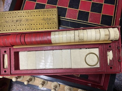 Lot 47-A Victorian Coromandel fitted games compendium