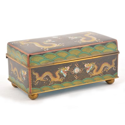 Lot 103 - Japanese cloisonne box, rectangular form, decorated with five clawed dragons, width 18cm.