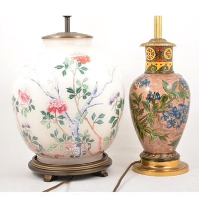 Lot 77 - Doulton-style Faience vase, adapted to a lamp base, and another lamp base