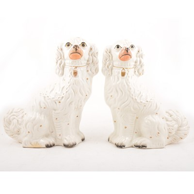 Lot 29 - Pair of large Staffordshire King Charles Spaniels.