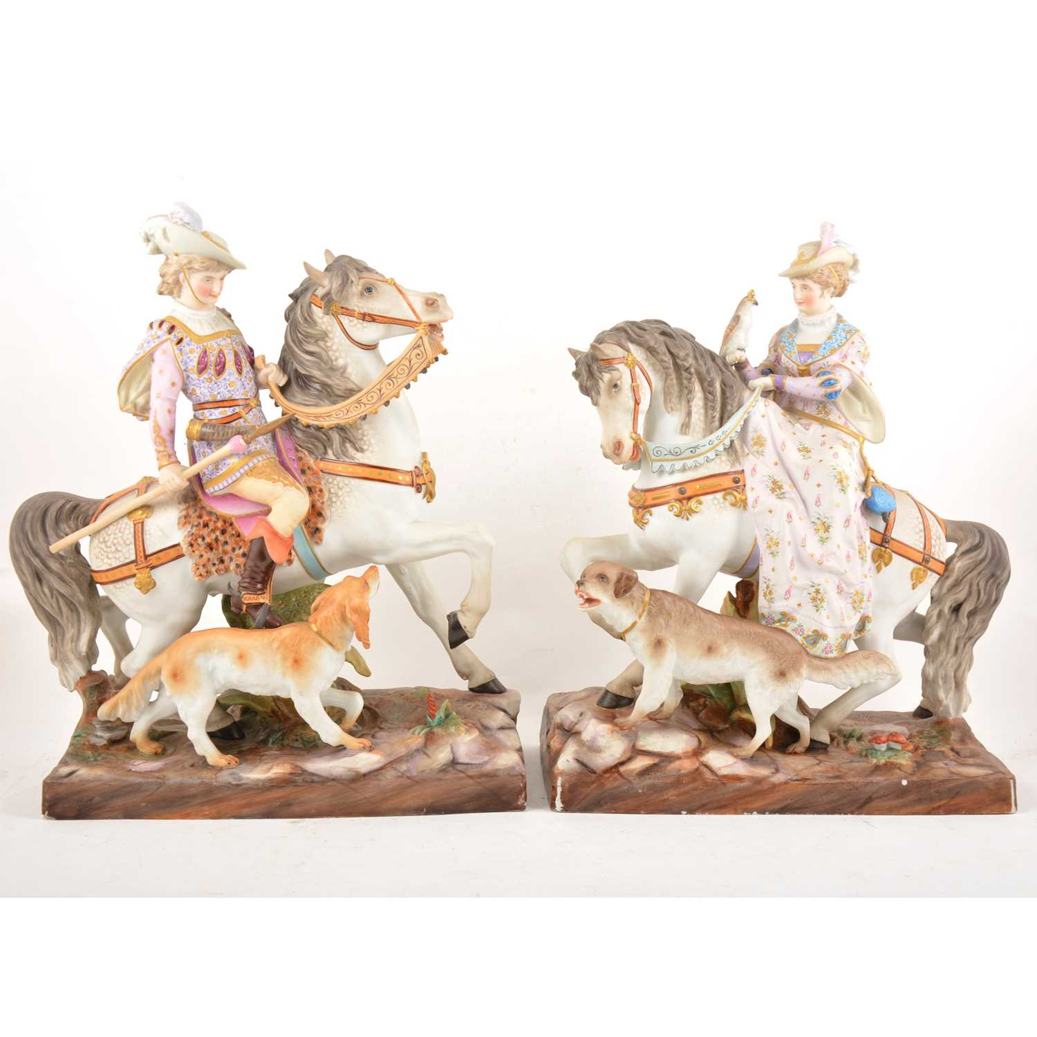 Lot 28 - An impressive large pair of Continental hand-painted porcelain hunting groups
