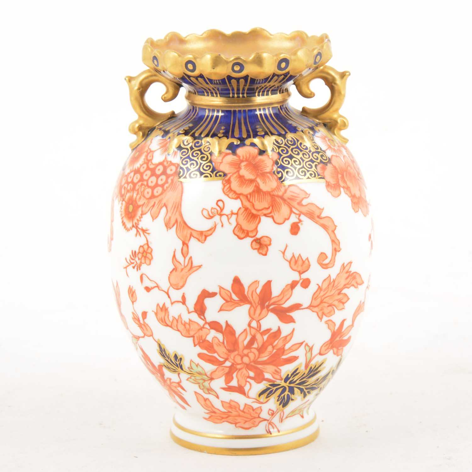 Lot 3 - A Royal Crown Derby twin-handled ovoid vase.
