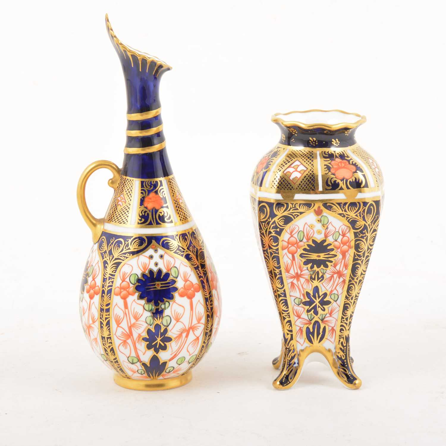 Lot 5 - A Royal Crown Derby Imari pattern ewer and vase.
