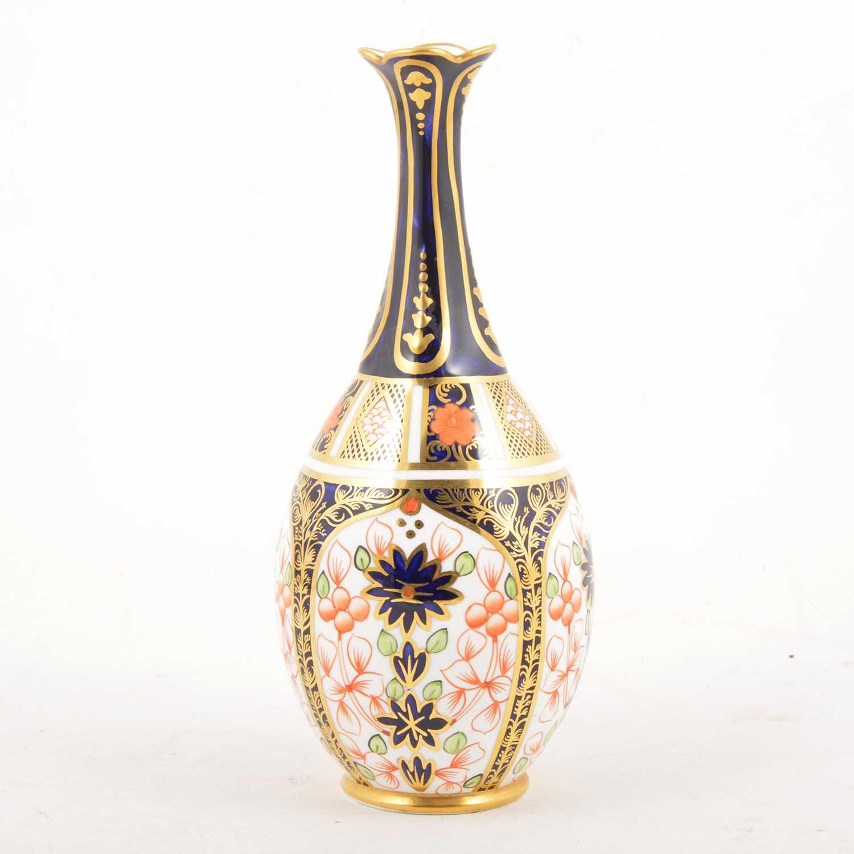 Lot 6 - A Royal Crown Derby Imari pattern slender neck vase