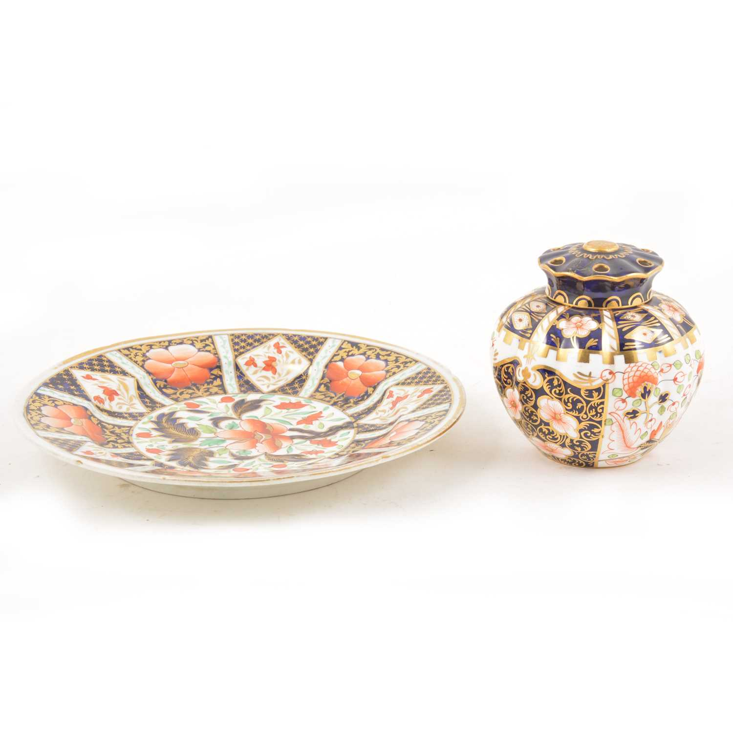 Lot 31 - A Royal Crown Derby pot pourri vase and cover, and an Imari pattern plate.