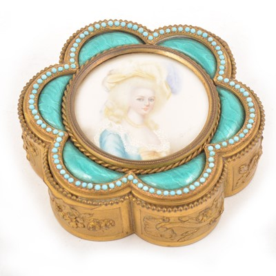 Lot 102 - A gilt metal and enamelled trinket box, inset with a portrait miniature on ivory roundel