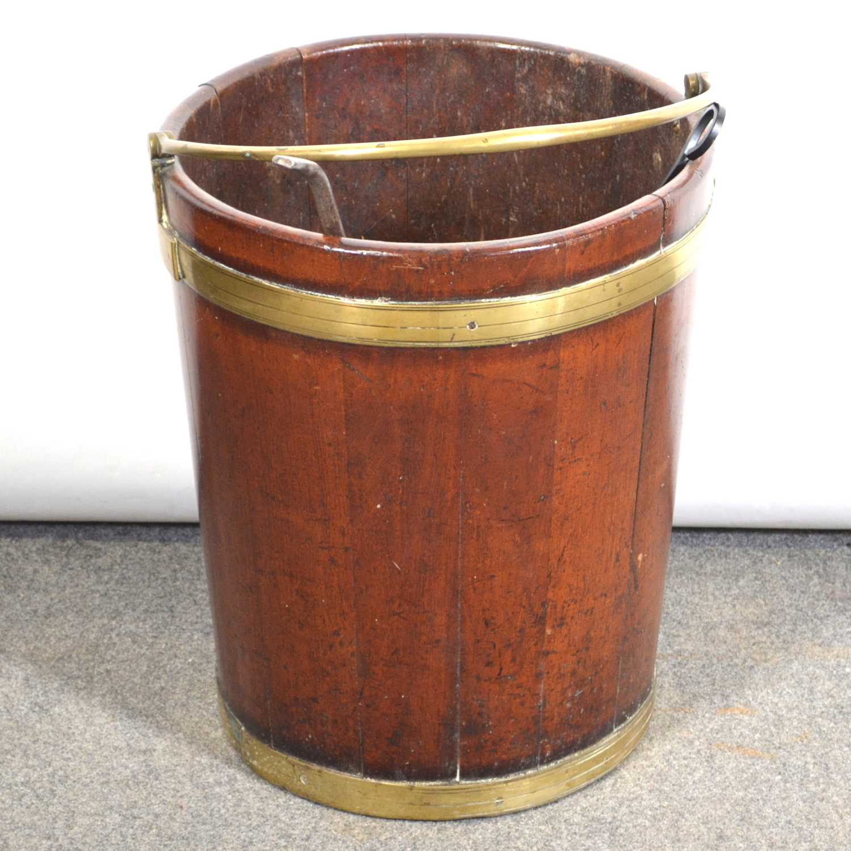 446 - Large George III mahogany bucket,