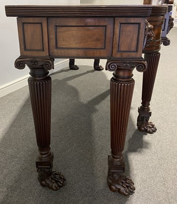 Lot 438 - A George III mahogany breakfront serving table, in the manner of Thomas Hope, circa 1810