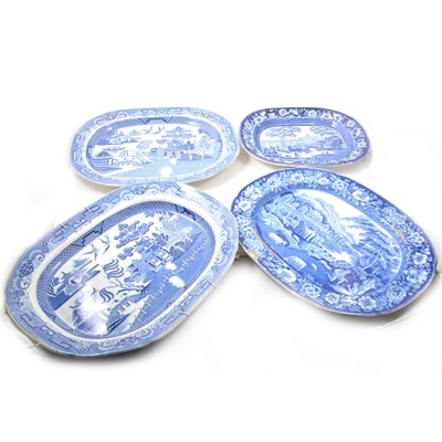 Lot 40 - A collection of seven Staffordshire transferware platters.