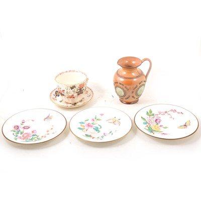 Lot 25 - Royal Worcester plates; Doulton Lambeth motto jug; and Staffordshire breakfast cup and saucer.
