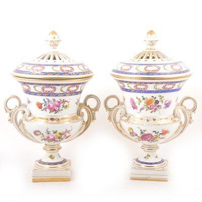 Lot 17 - Pair of Continental porcelain campagna shape urns