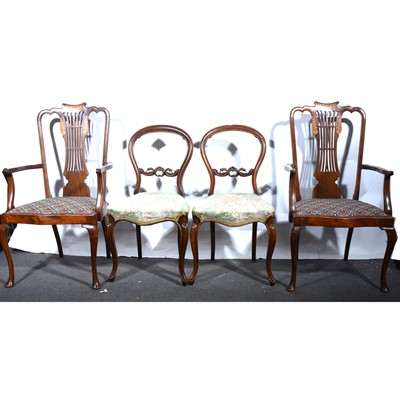 Lot 22 - A pair of inlaid stained beechwood salon chairs, and a pair of Victorian balloon back chairs.
