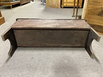 Lot 40 - A reproduction oak six plank coffer, small size.