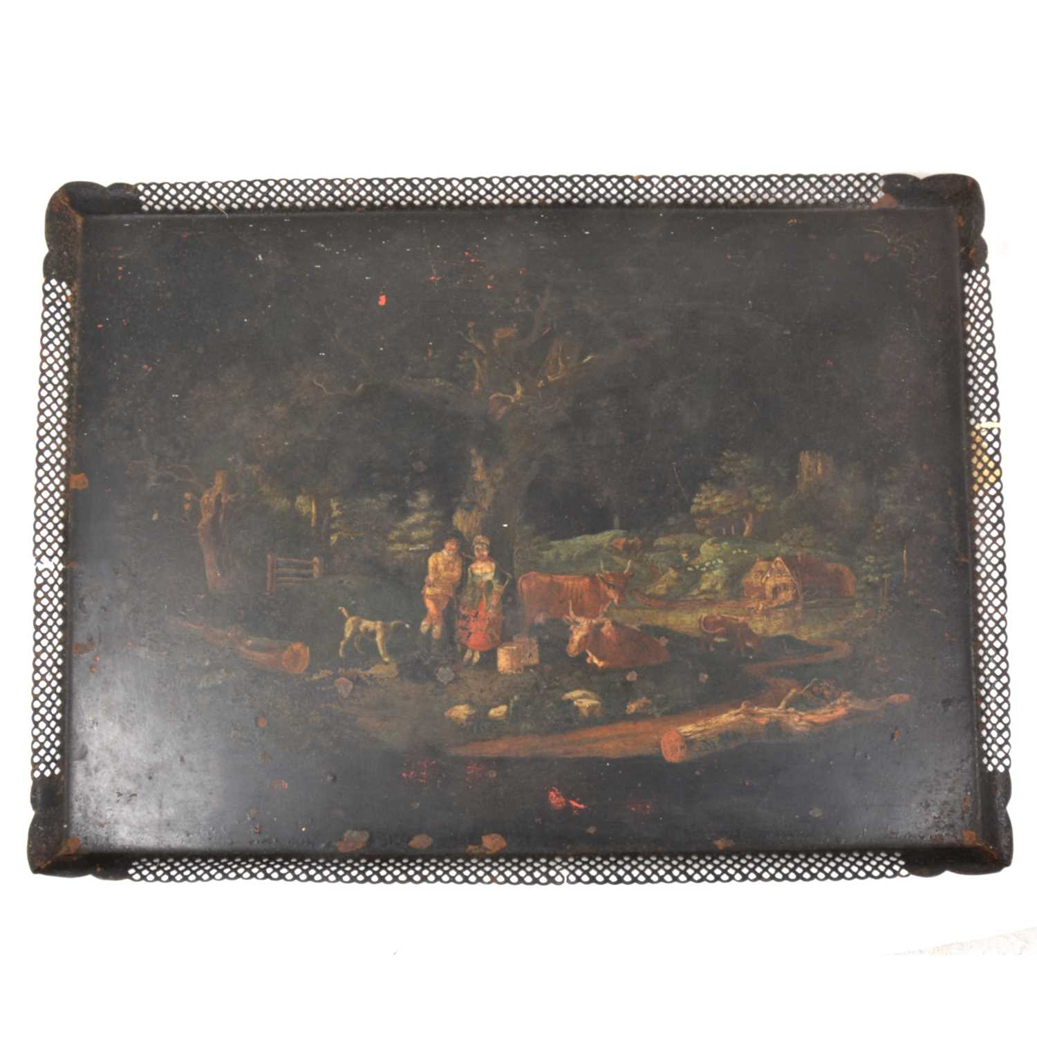 Lot 43-An early 19th Century toleware tray