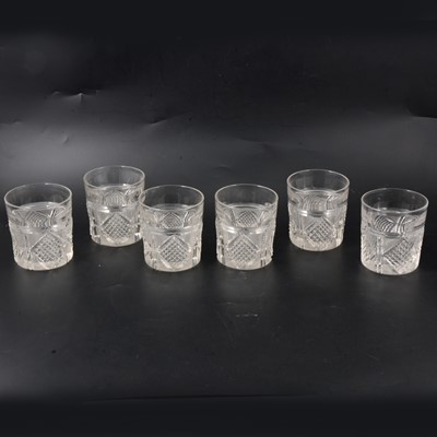 Lot 15 - Set of six heavy crystal cut whisky tumblers.
