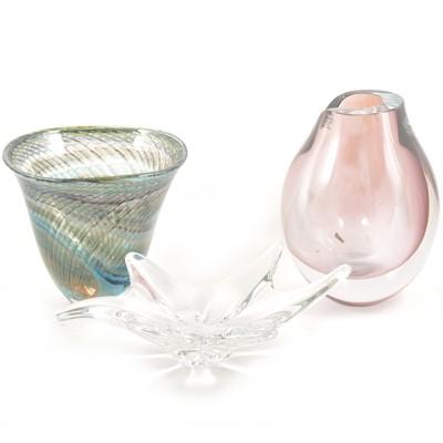 "Lot 40 - Kosta Boda Artist's Choice - ""Opus"" Vase by Göran Wärff, plus a bell shape vase and a Baccarat bowl"