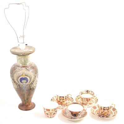 Lot 22 - A collection of Imari ware, and a Royal Doulton vase converted to a lamp base.