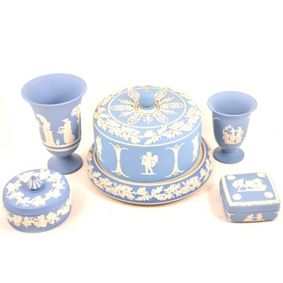 Lot 83 - A Wedgwood Blue Jasperware cheese dish and cover, together with a collection of modern Blue Jasperware