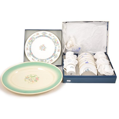 Lot 70 - A set of six Royal Worcester coffee cans, Worcester gateau plate, and Susie Cooper charger