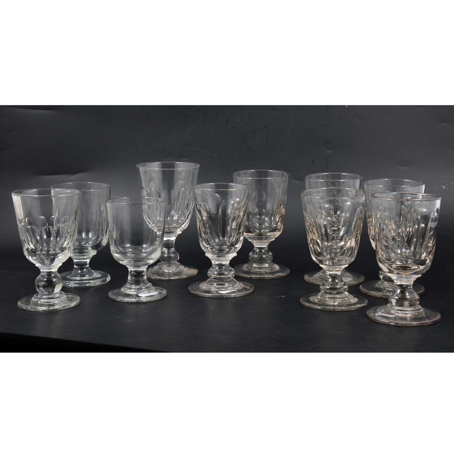 Lot 58 - A set of six matching Victorian glass rummers, and four others